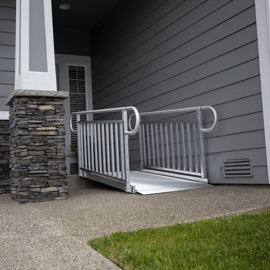 gateway 3g ramp with vertical picket handrails - ez-access - harmony home medical