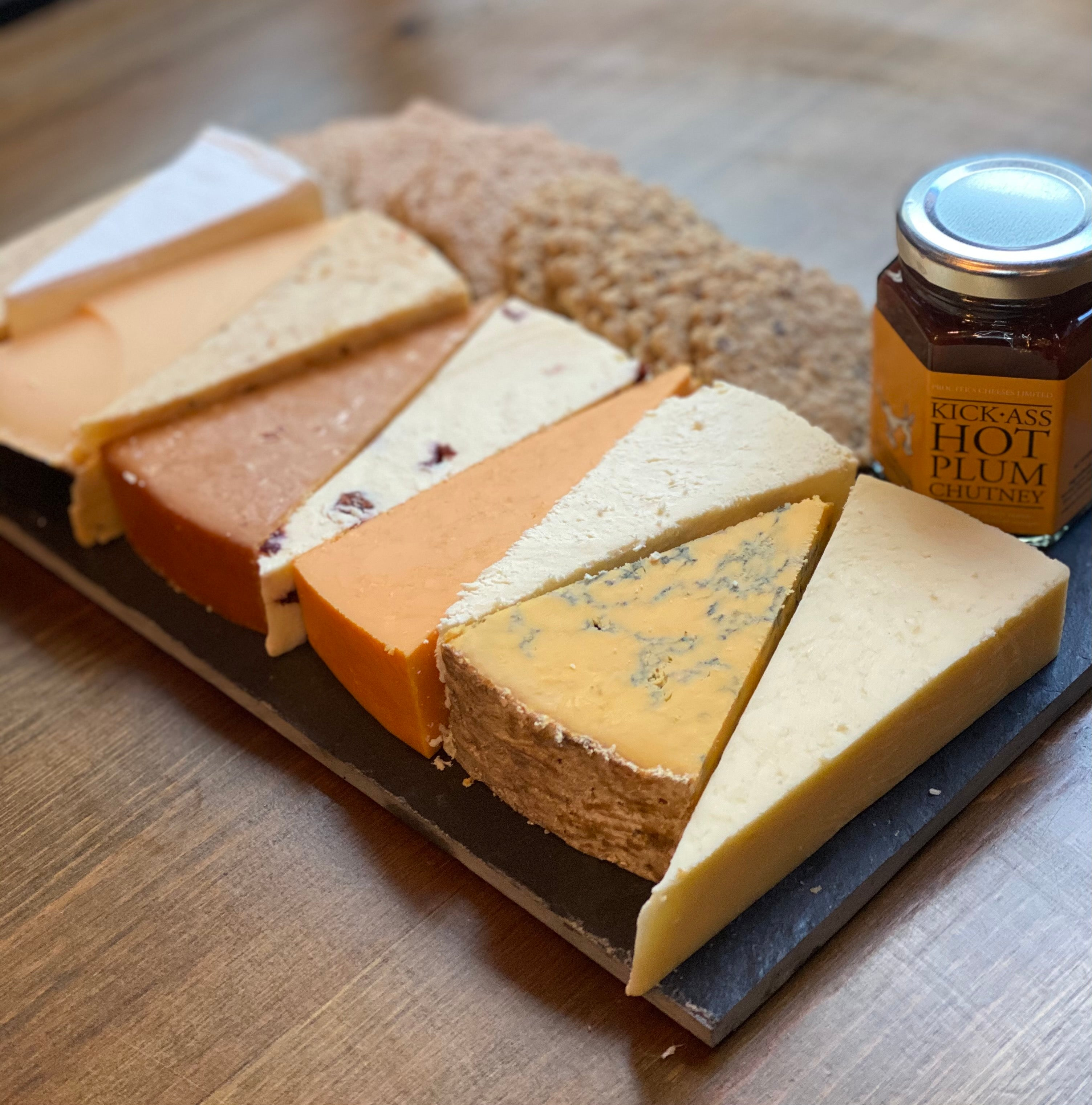 Cheese, biscuits & chutney on slate