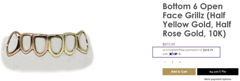 ZIP on Luxe Grillz product page