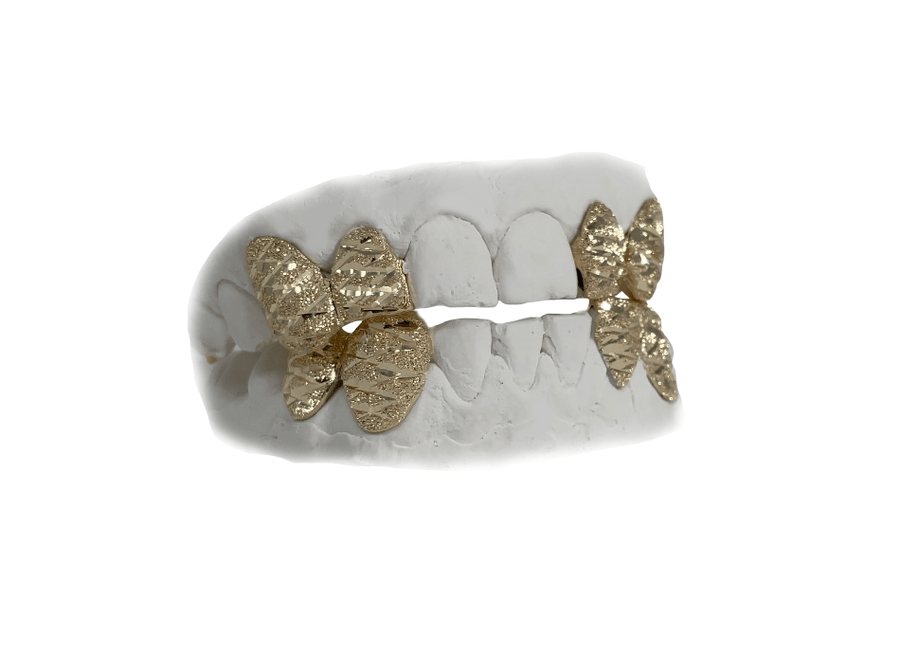 Two Teeth Grillz Combo with Diamond Cuts + Dust in 14K Yellow Gold