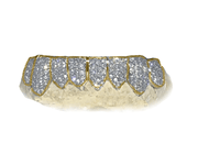 SI Diamond Bottom 8 Grillz - Yellow Gold 14K