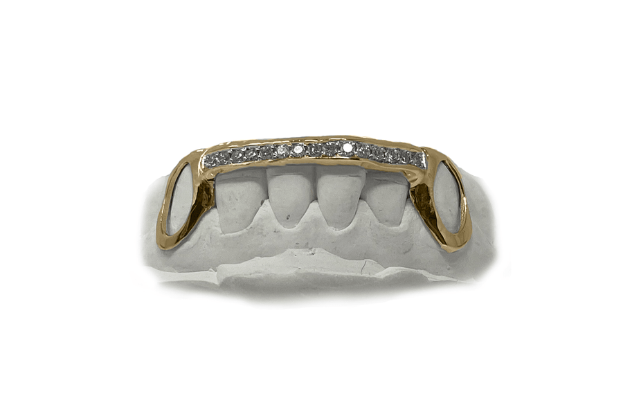 Diamond Bridge Grillz with Solid Gold Open Face Fangs in 14K Yellow Gold