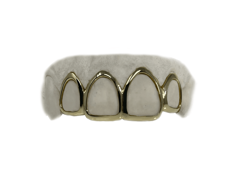 Top 4 Open Face Yellow Gold Grillz in 10K