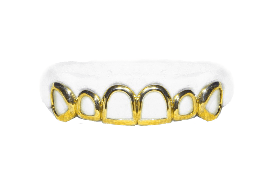 Top 6 Open Face Grillz in 14K Yellow Gold