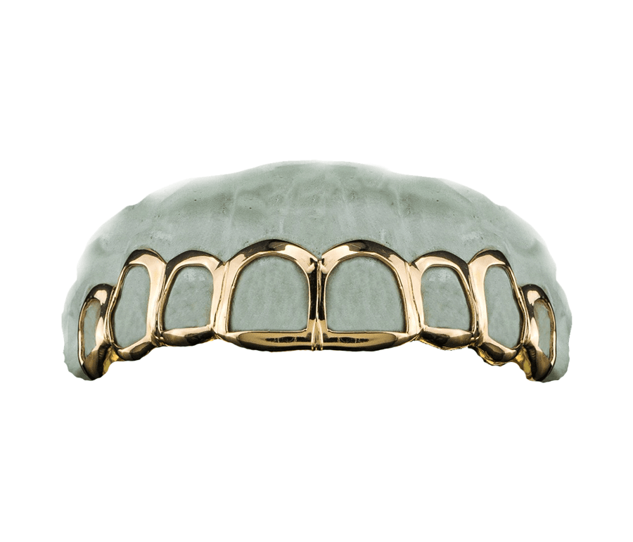 Grillz - Top 8 Open Face Yellow Gold Teeth 18K
