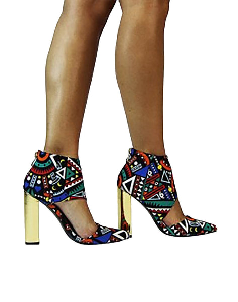 The Luxe Mode Bad Girl Colorful Tribal Print Booties
