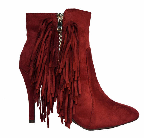 The Luxe Mode Fringe Benefits Faux Suede Fringe Booties