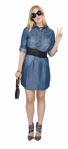 The Luxe Mode Junior's Billie Jean Denim Button-Down Long Sleeves Shirt Dress