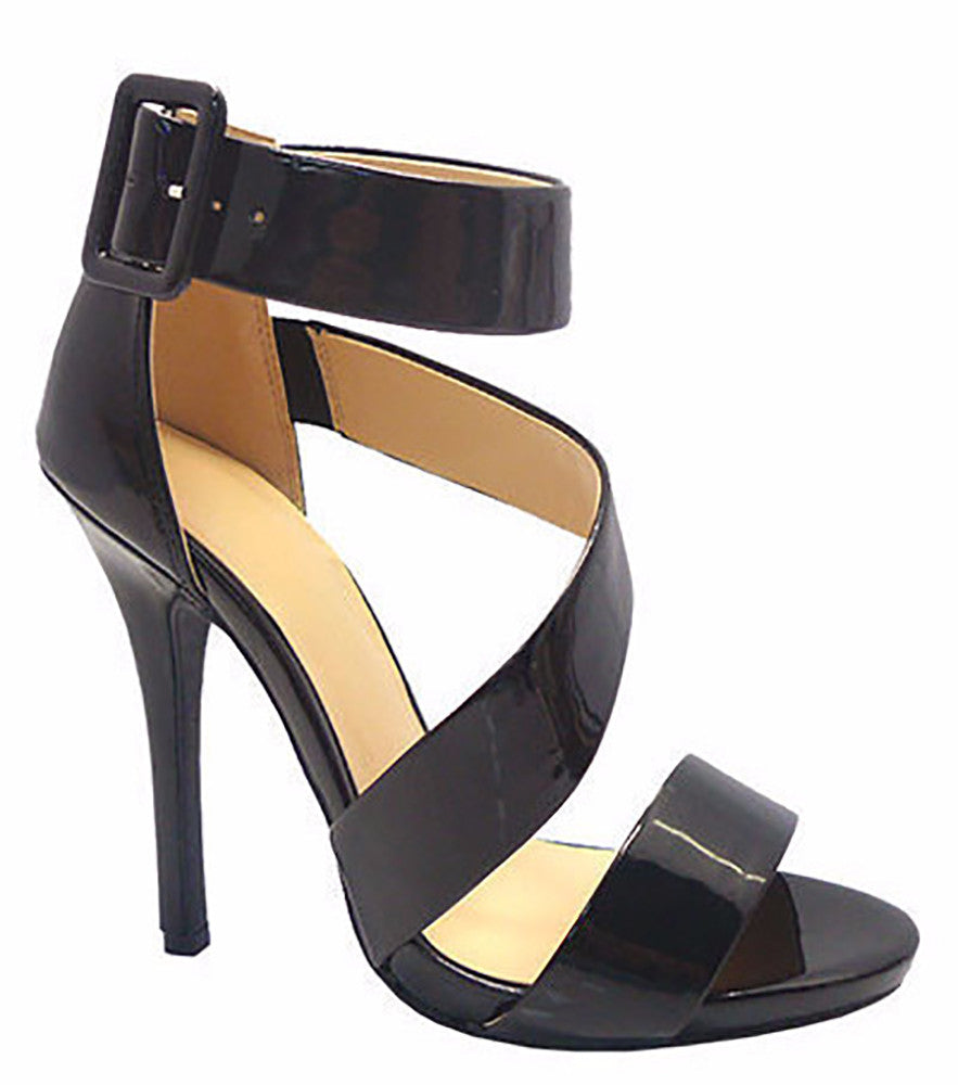 Diva Lounge Women's Bridget Black Patent Leather Sandals