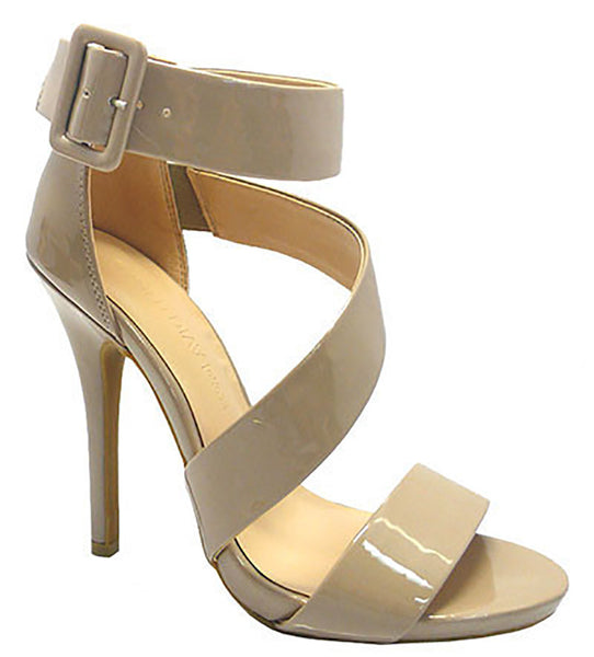Diva Lounge Women's Bridget Nude Patent Leather Sandals