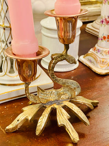 Brass & Copper Swan Candle Holders