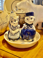 Load image into Gallery viewer, Delft Dutch Girl & Boy Salt & Pepper Shakers