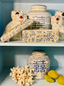 Large Blue & White Chinoiserie Lidded Ceramic Box