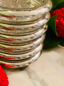 Set of 6 Cut Glass & Silver Plate Coasters