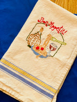 Load image into Gallery viewer, Vintage Hand Embroidered Bon Appetit Kitchen Towel