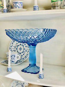 Show-stopping Massive L.E Smith Trellis Blue Glass Compote