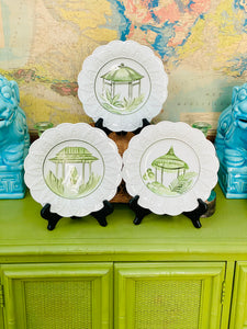 Set of 3 Italian Hand Painted Pagoda Plates