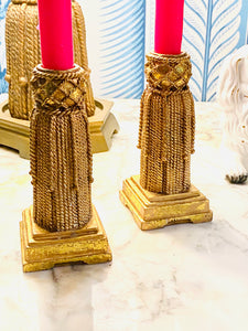 Hollywood Regency Tassel Candle Holders