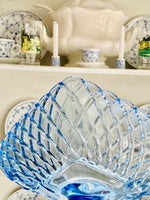 Load image into Gallery viewer, Show-stopping Massive L.E Smith Trellis Blue Glass Compote