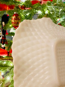 Amazing 3 Piece Hobnail Milk Glass Set