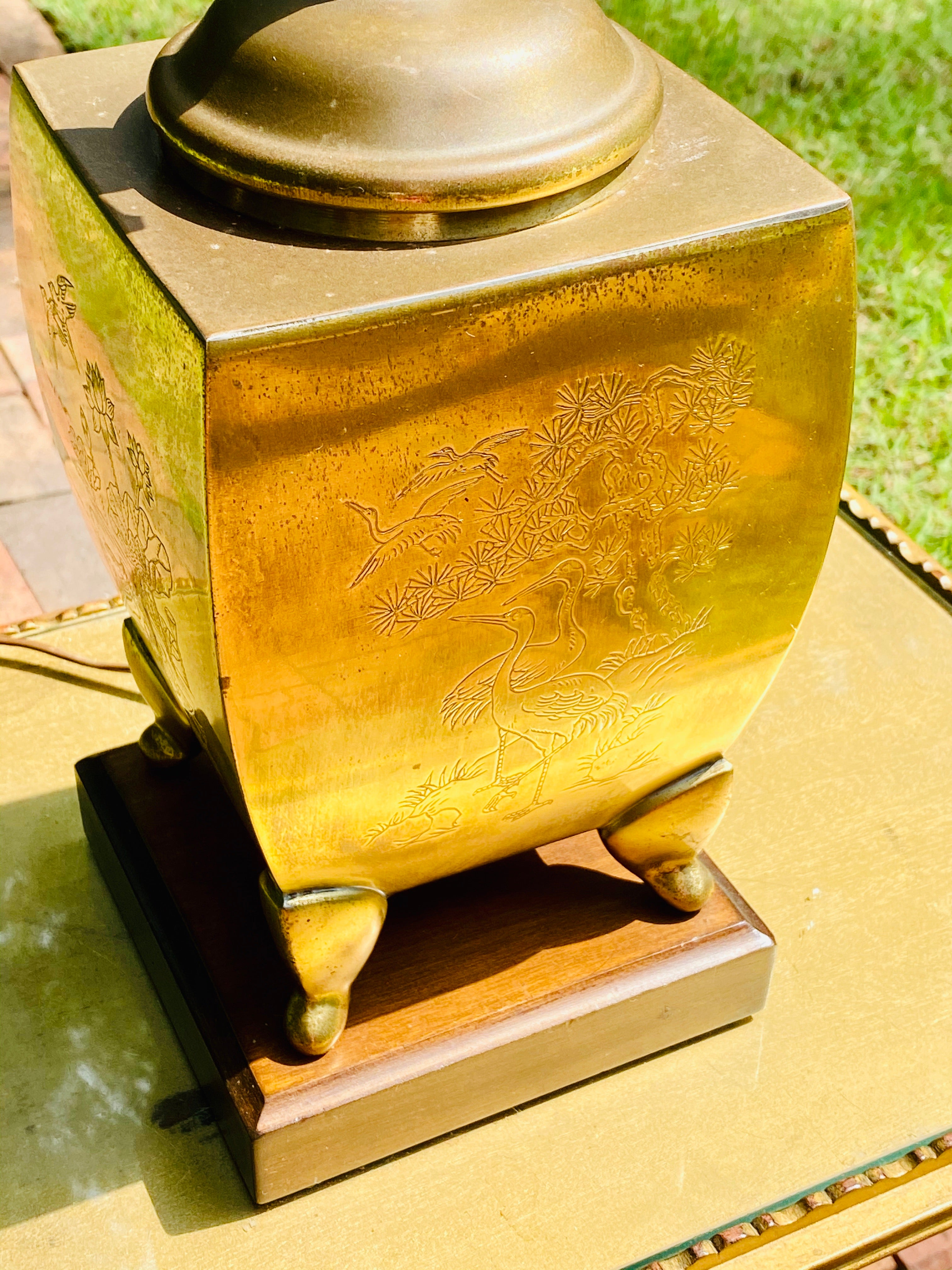 Vintage Brass Chinoserie Lamp