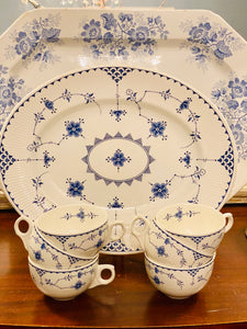 Set of 6 Blue Denmark Teacups