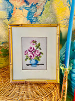 Load image into Gallery viewer, Stunning Faux Bamboo Framed Needlepoint