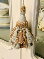 Load image into Gallery viewer, French Blue & Silver Vintage Key Tassel