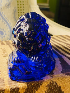Cobalt Blue Glass Lion