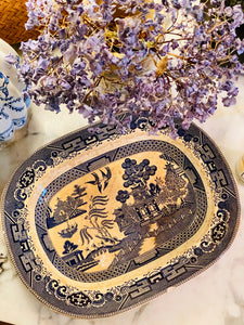 105 year old Buffalo Pottery Blue Willow Platter