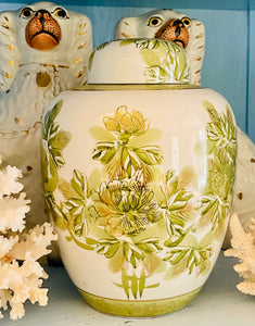Green & White Ginger Jar