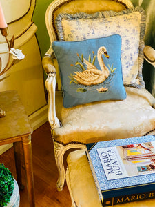 Vintage Needlepoint Swan Pillow
