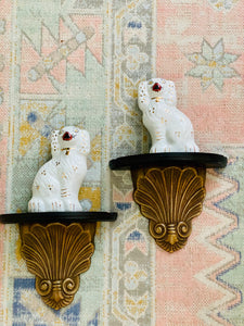 Brass & Wood Shell Sconces