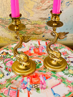 Load image into Gallery viewer, Brass Asian Dolphin Candlesticks