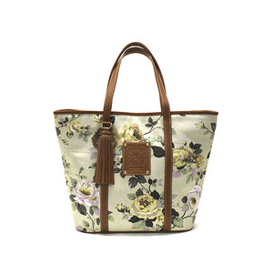 Floral ivory tote