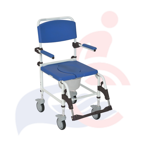 Drive™ - Aluminum Rehab Shower Commode Chair with Four Rear-locking Casters