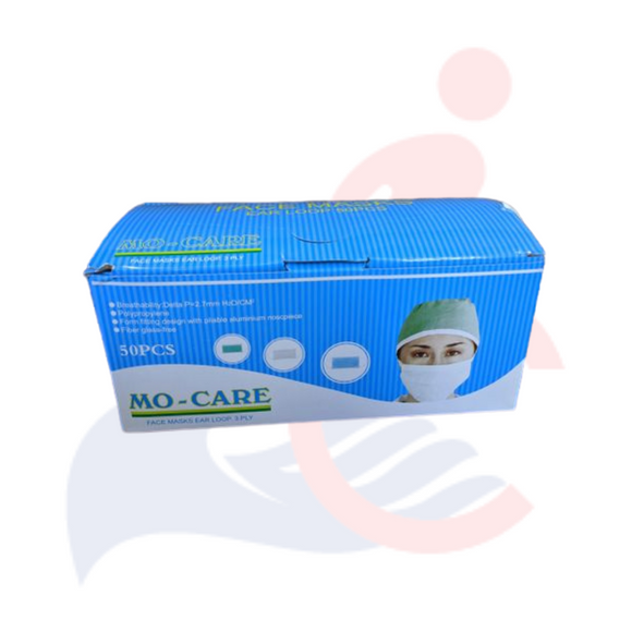 MO-CARE - 3-ply Face Mask with Ear Loop (50 pack, or case of 500 or 1000)