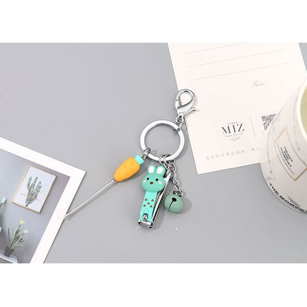 Cartoon Rabbit Nail Clipper Earpick Key Chain (Price For 1 Piece)