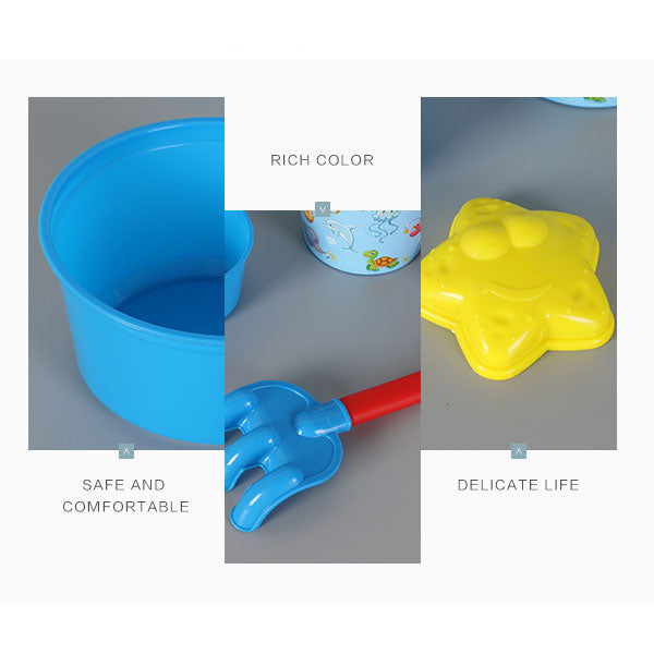 Marine Animal Pattern Bucket Beach Toy Set