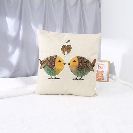 Cotton Linen Throw Pillow (Bird)