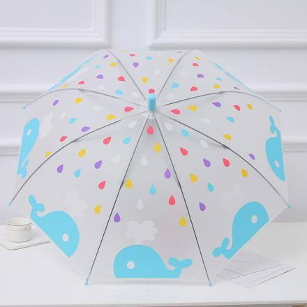 Blue Whale Pattern Umbrella with Long Handle for Children