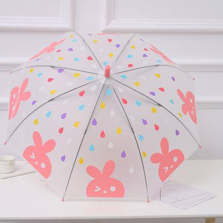 Pink Rabbit Pattern Umbrella with Long Handle for Children