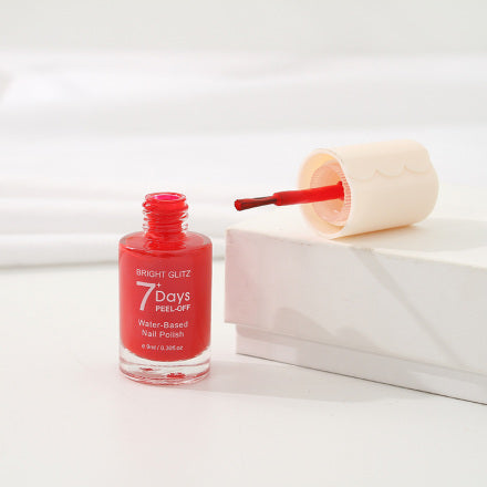 Bright Glitz 7-Day Peel-Off Water-Based Nail Polish (Red)