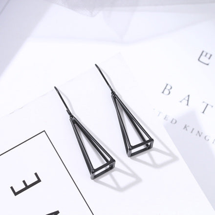 Matte Black Triangle Dangle Hook Earrings
