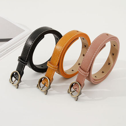 Womens Belt with Single Prong Buckle and Animal Shape Holes (Price For 1 Piece)