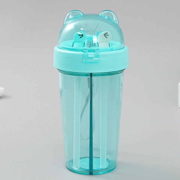Adorable Water Bottle with Two Straws