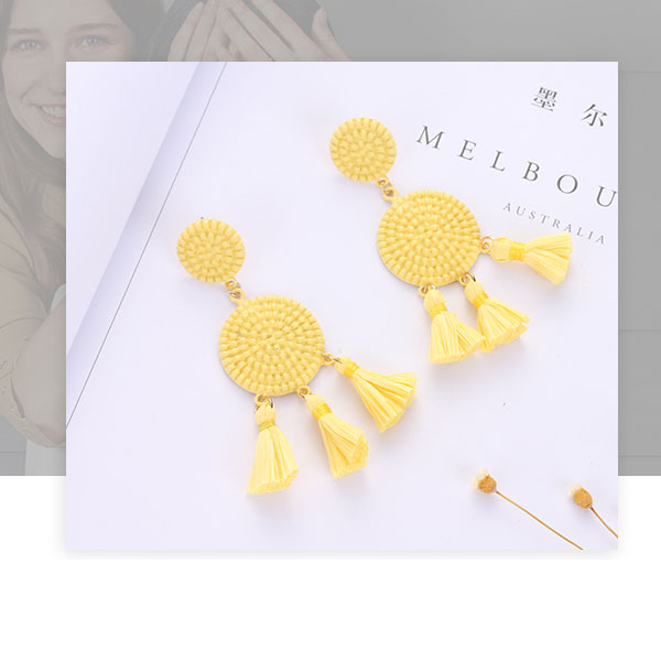 Bohemia Style Yellow Dangle Earrings