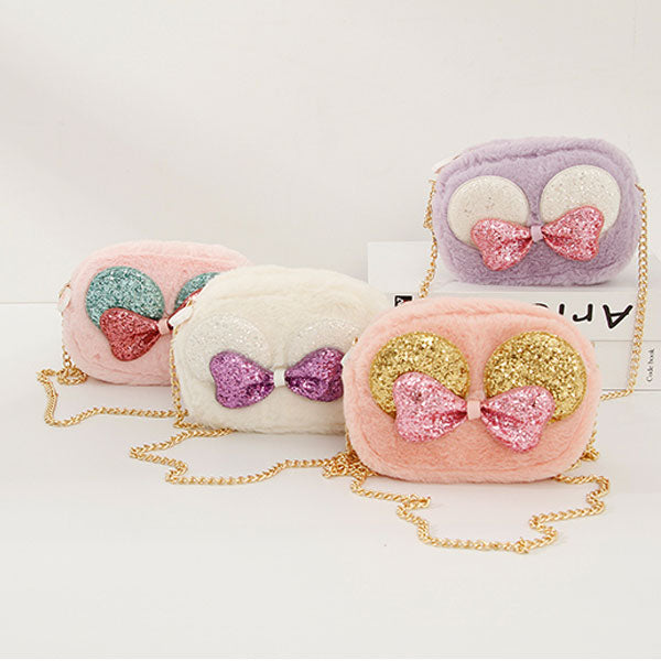 Bowknot Mini Fluffy Shoulder Bag for Kids (Price For 1 Piece)