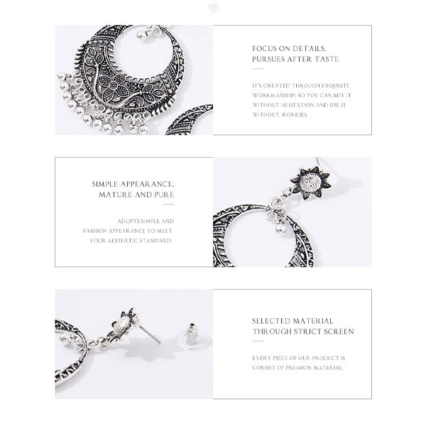Classic Silver Ethnic Earrings