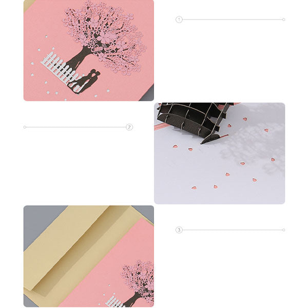 Couple Cherry Blossom 3D Pop Up Gift Card Set